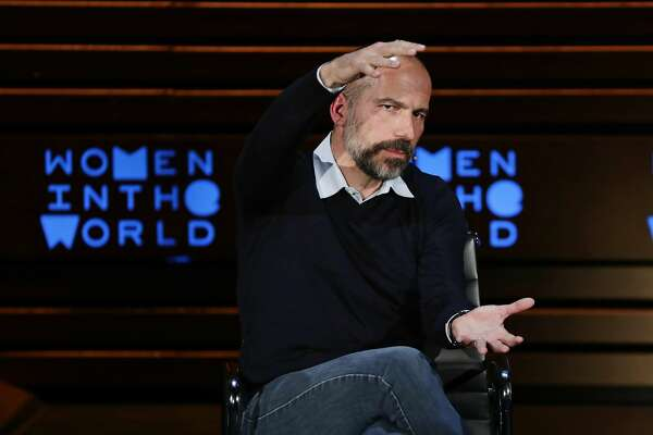 Chief Executive Officer of Uber Dara Khosrowshahi gestures while speaking at the ninth annual Women in the World Summit Thursday, April 12, 2018, in New York. (AP Photo/Frank Franklin II)