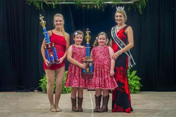 The Jersey County Fair 2017 talent senior and junior champions, Autumn Sturhahn of Quincy, and Emma and Anna Beauchamp of Jerseyville were in the top 10 of their respective divisions at the state competition in Springfield in January. Sturhahn took 9th place and Emma and Anna Beauchamp were in 6th place. They are pictured with the 2016 Miss Jersey County, Kallie Shires.