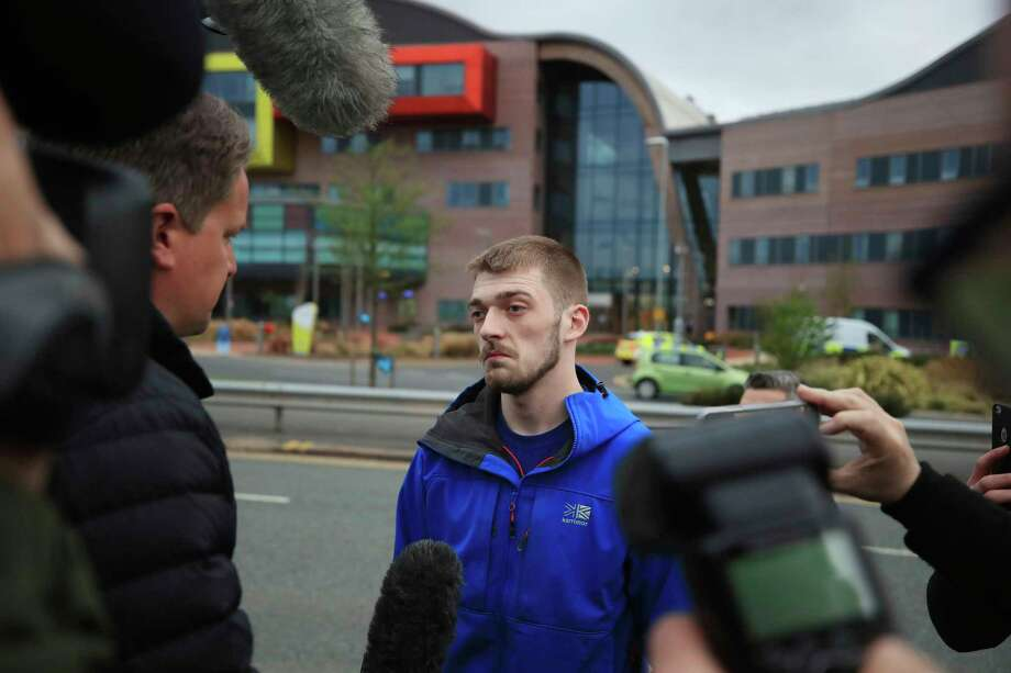 Tom Evans speaks to members of the media, outside Liverpool's Alder Hey Children's Hospital where his 23-month-old son, Alfie, has been at the centre of a life-support treatment fight, in Liverpool, England, Tuesday April 24, 2018.  The European Court of Human Rights on Monday rejected a case from British parents who want to take their terminally ill toddler to Italy for treatment instead of allowing a U.K. hospital to remove him from life support. (Peter Byrne/PA via AP) Photo: Peter Byrne / PA