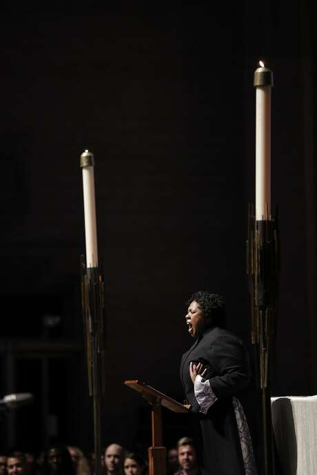 "The Rev. Yolanda Norton of the San Francisco Theological Seminary gave a guest sermon on her current course ""Beyoncé and the Hebrew Bible"" at Grace Cathedral to celebrate the Beyonce Mass on Wednesday, April 25, 2017 in San Francisco, Calif. Photo: Carlos Avila Gonzalez / The Chronicle"