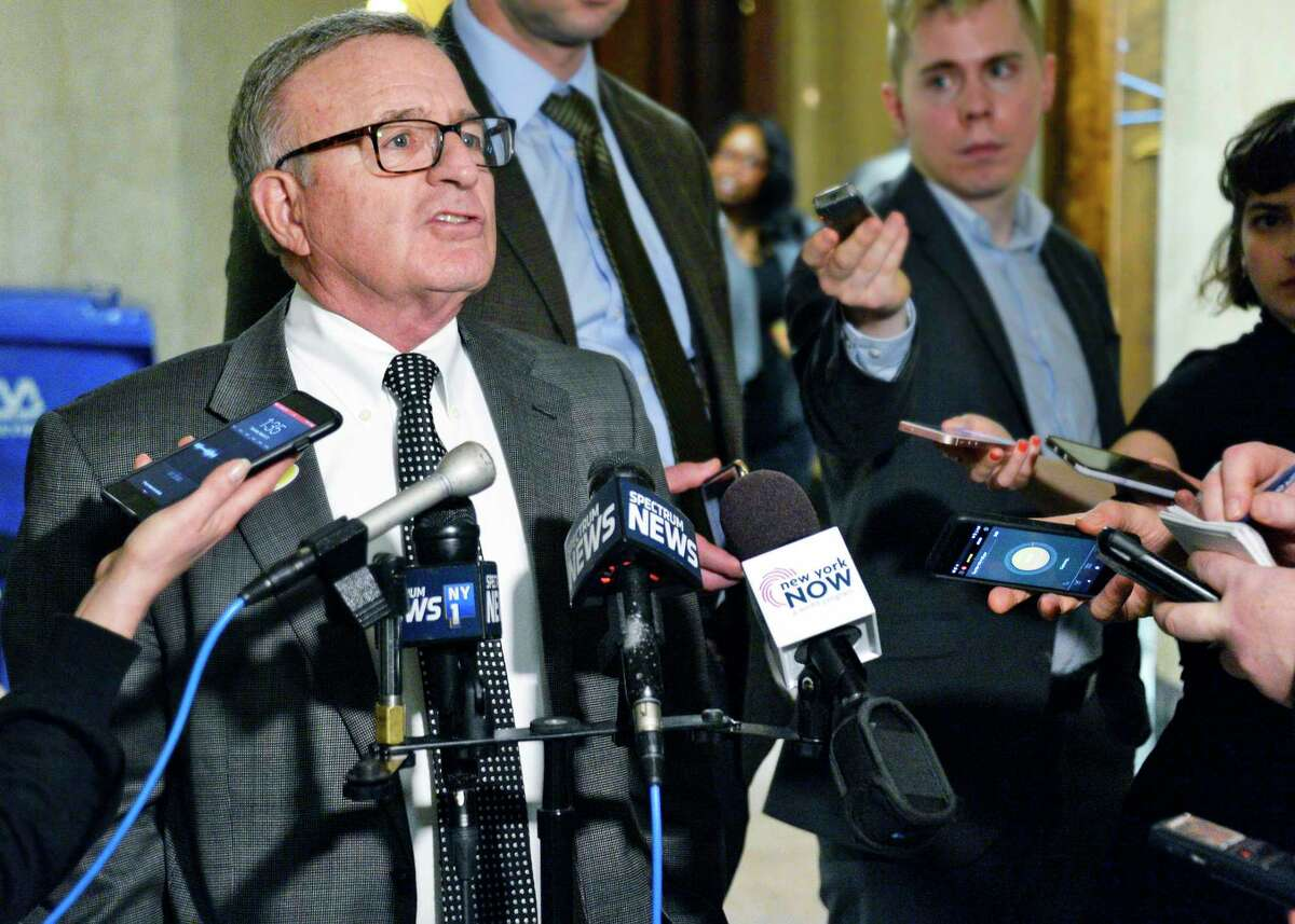 Sen. John DeFrancisco voices his reaction to the Percoco verdict during a news conference at the Capitol on Tuesday, March 13, 2018, in Albany, NY. (John Carl D'Annibale/Times Union archive)