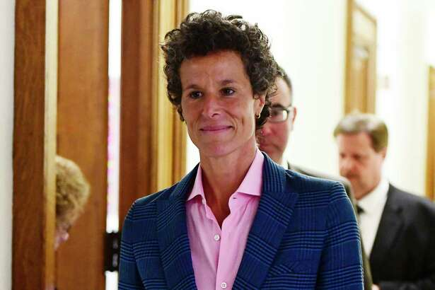 Andrea Constand, main accuser in the Bill Cosby trial, leaves courtroom A after testifying in the Bill Cosby sexual assault trial at the Montgomery County Courthouse, Wednesday, April 25, 2018, in Norristown, Pa. (AP Photo/Corey Perrine, Pool)