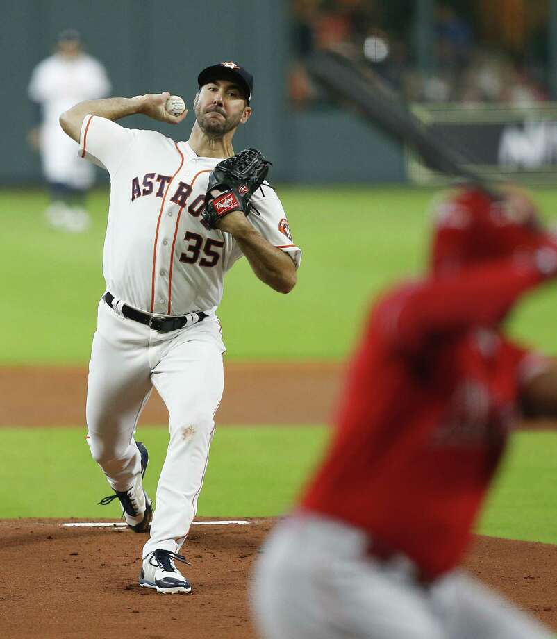 HOUSTON, TX - APRIL 25:  Justin Verlander #35 of the Houston Astros pitches in the first inning against the Los Angeles Angels of Anaheim at Minute Maid Park on April 25, 2018 in Houston, Texas.  (Photo by Bob Levey/Getty Images) Photo: Bob Levey / 2018 Getty Images