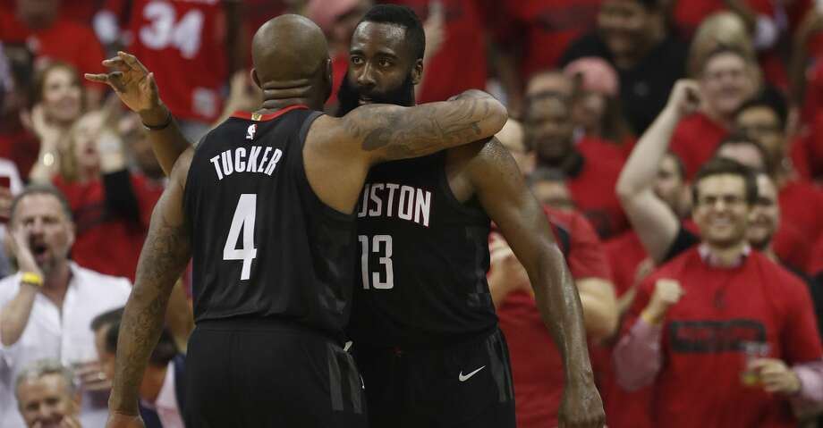 Houston Rockets guard James Harden (13) hugs forward PJ Tucker (4)  in the second half of Game 5 of a playoff NBA basketball game at Toyota Center, Wednesday, April 25, 2018, in Houston. ( Brett Coomer  / Houston Chronicle ) Photo: Brett Coomer/Houston Chronicle
