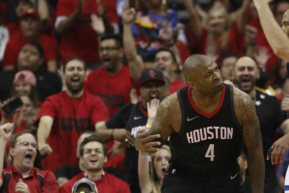 Houston Rockets forward PJ Tucker (4) reacts after a three-pointer in the second half of Game 5 of a playoff NBA basketball game at Toyota Center, Wednesday, April 25, 2018, in Houston. ( Brett Coomer  / Houston Chronicle )