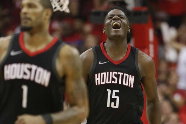 Houston Rockets center Clint Capela (15) reacts in the second half of Game 5 of a playoff NBA basketball game at Toyota Center, Wednesday, April 25, 2018, in Houston. ( Brett Coomer  / Houston Chronicle )