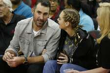 Houston Astros pitcher Justin Verlander with his wife Kate Upton coutside in the fourth quarter of Game 5 of a playoff NBA basketball game at Toyota Center, Wednesday, April 25, 2018, in Houston. ( Brett Coomer  / Houston Chronicle )