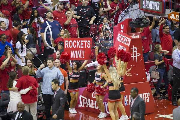 Rockets fans celebrate at the end of Game 5 of an NBA first round playoff series at Toyota Center, Wednesday, April 25, 2018, in Houston. ( Mark Mulligan / Houston Chronicle )