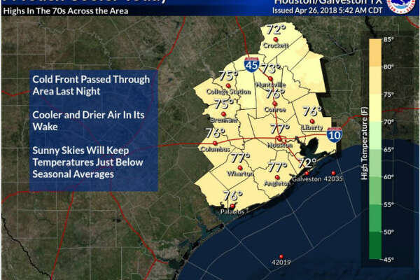 Houston is expected to have good weather for April 26, 2018, despite a cold front coming through the night before. The National Weather Service projects temperatures to reach highs of 75 to 82 this upcoming weekend in Houston.