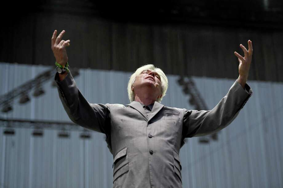 David Byrne performs onstage during 2018 Coachella Valley Music And Arts Festival Weekend 1. Photo: Frazer Harrison, Staff / Getty Images For Coachella / 2018 Getty Images
