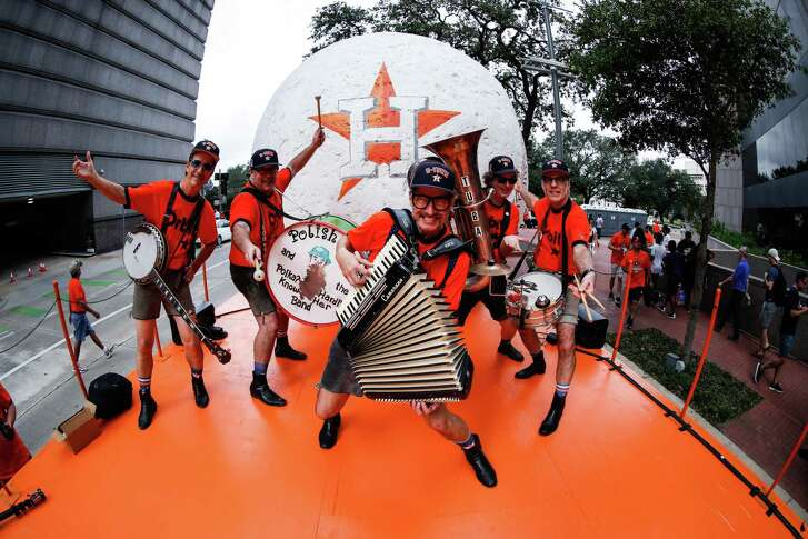 Polish Pete and his band get ready to perform their Altuve Polka song during the Houston Astros World Series victory parade.