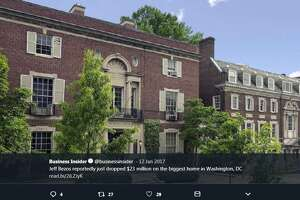 Amazon founder Jeff Bezos' renovated Washington, D.C. mansion sports 25 bathrooms, 11 bedrooms, five living rooms/lounges, five staircases, and three kitchens, among a litany of features.