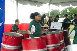 Park View Intermediate Steel Drum Band member Geri Victor performs with the band during the San Jacinto Day Festival Saturday, Apr. 21.