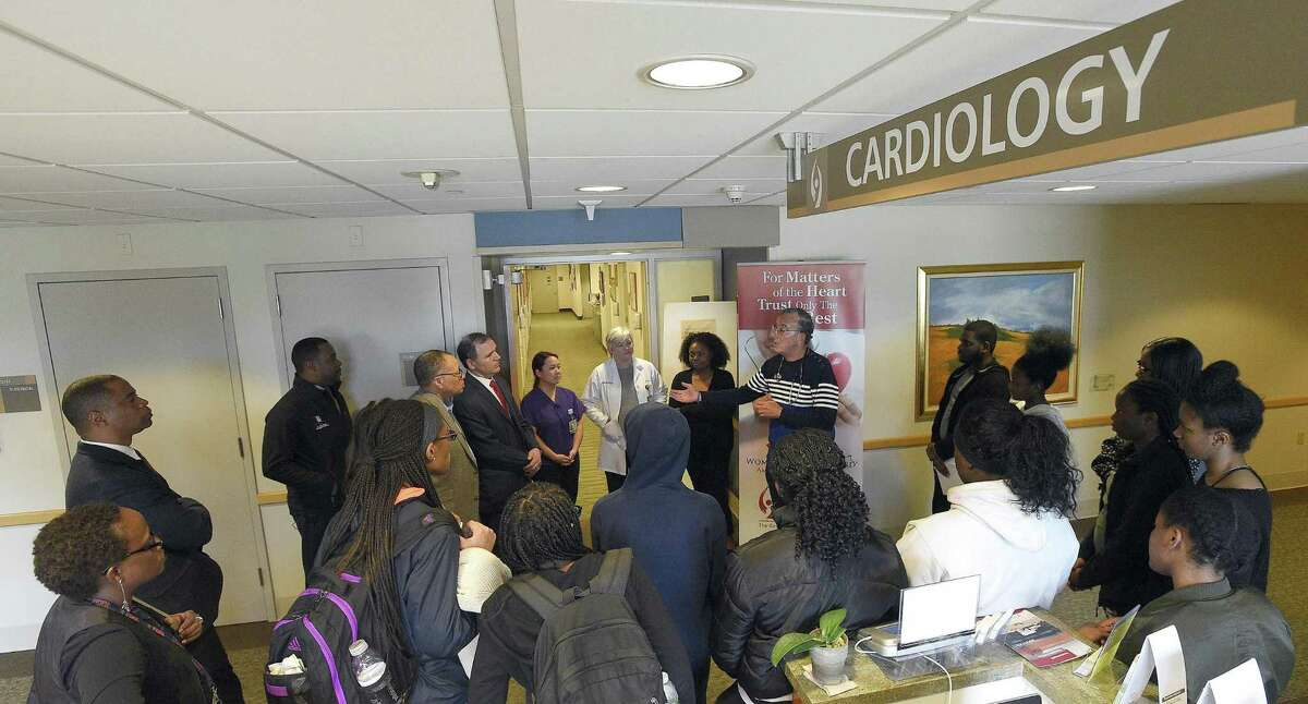"""Students from Stamford Schools tour the Tully Health Center in Stamford, Conn., as part of a """"Health Immersion Program"""" on April. 24, 2017. The group was introduced to various health care specialists, which included doctors, physician assistant, ER nurses, fitness trainers, cardiac rehab specialists, other support staff at the facility. The program goal was to introduce many careers to the students. The tour was organized by members of the 100 Black Men of Stamford and Stamford Hospital."""