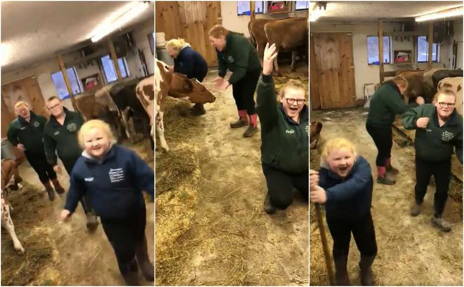 "Three sisters in northern New York have gone viral after their mom took video of them singing and dancing to Journey's ""Don't Stop Believin'"" while tending to their farm. Photo: Nichole Countryman Wright"