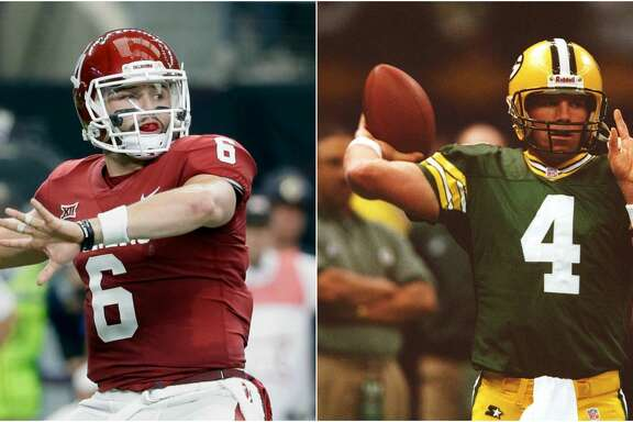 Top quarterback prospect Baker Mayfield channeled hall of famer Brett Favre for his pre-draft photo.    Scroll ahead to see how Mayfield did his best Favre up ahead.