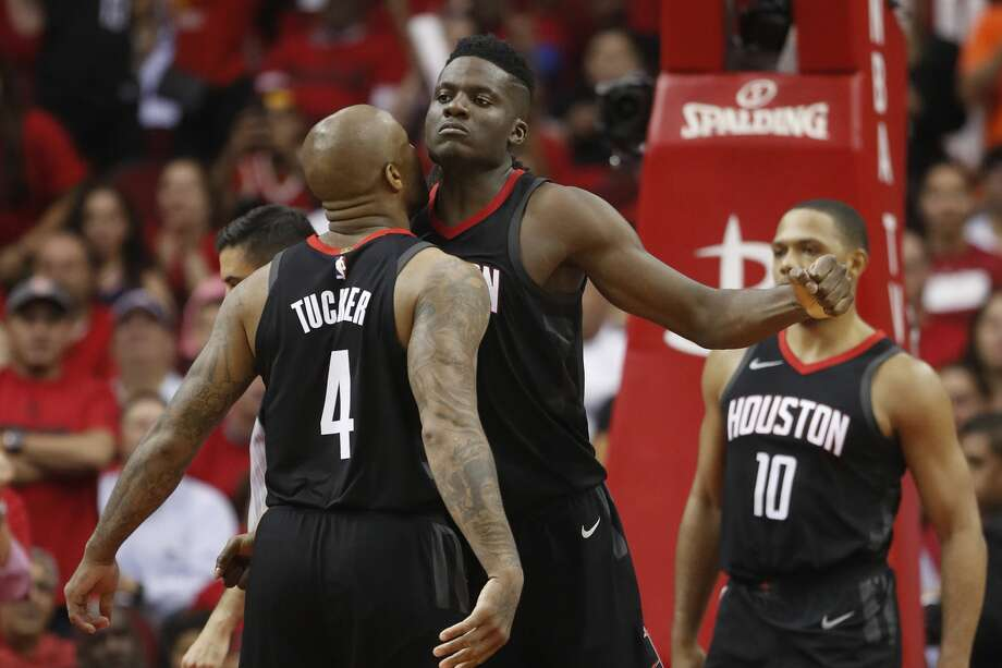 Houston Rockets center Clint Capela (15) reacts with Houston Rockets forward PJ Tucker (4) in the second half of Game 5 of a playoff NBA basketball game at Toyota Center, Wednesday, April 25, 2018, in Houston. ( Brett Coomer  / Houston Chronicle ) Photo: Brett Coomer/Houston Chronicle