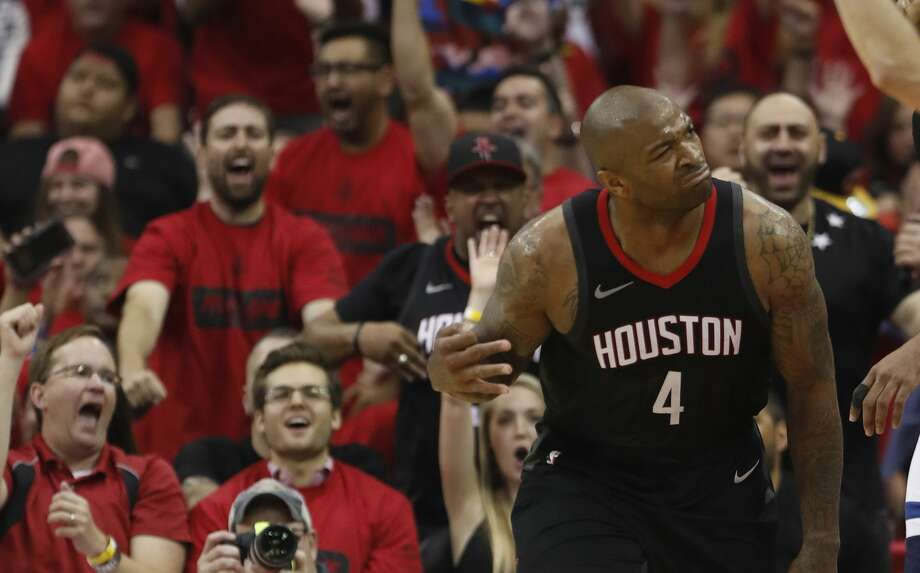 Houston Rockets forward PJ Tucker (4) reacts after a three-pointer in the second half of Game 5 of a playoff NBA basketball game at Toyota Center, Wednesday, April 25, 2018, in Houston. ( Brett Coomer  / Houston Chronicle ) Photo: Brett Coomer/Houston Chronicle