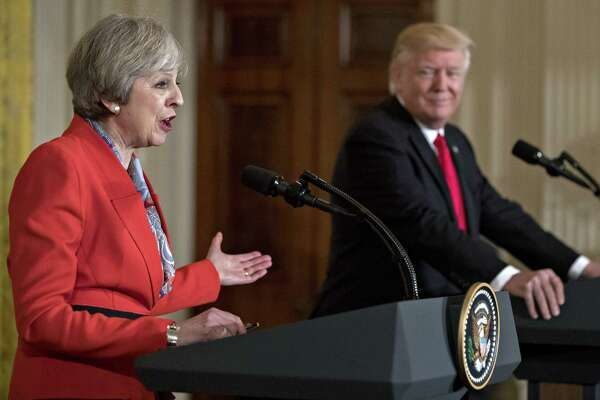 British Prime Minister Theresa May alongside President Trump at a news conference Jan. 27, 2017, in the East Room of the White House.
