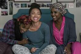 """The central female characters — Sam (Logan Browning), center, Coco (Antoinette Robertson), right, and Joelle (Ashley Blaine Featherson) — in a bonding scene of the second season of """"Dear White People,"""" a racially charged, yet very funny, half-hour on Netflix."""