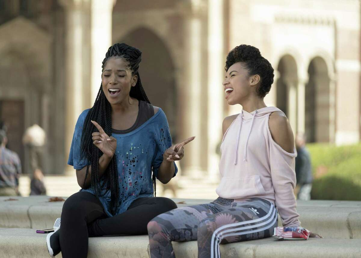 Joelle (Ashley Blaine Featheson) and her bestie Sam (Logan Browning) in a lighter moment on season two of