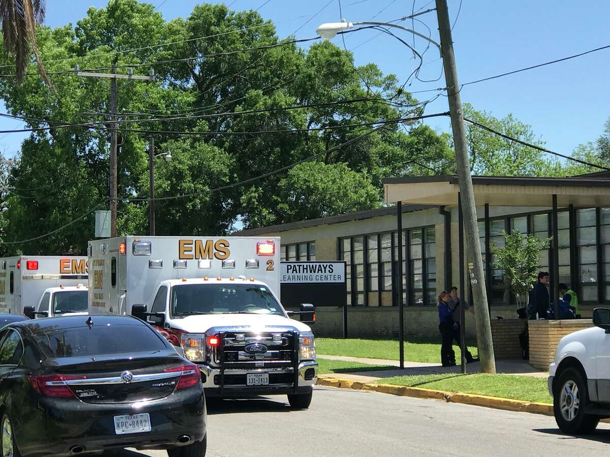 Ambulances respond to a reported pepper spray incident at Pathways Learning Center Thursday, April 26, 2018. Photo: Kim Brent/The Enterprise