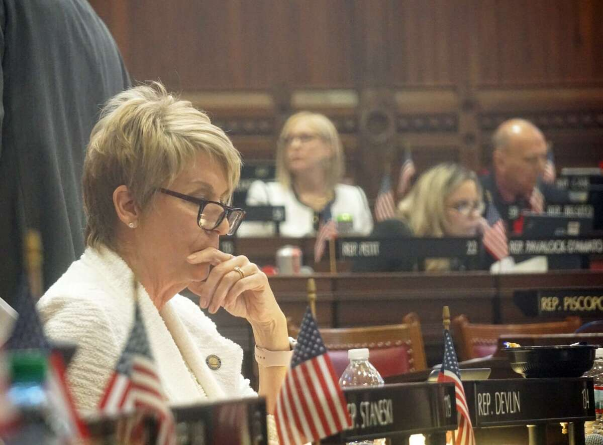 State Rep. Laura Devlin, R-Fairfield, was among House Republicans who expressed concerns over Connecticut joining the National Popular Vote Interstate Compact at the Capitol in Hartford, Connecticut on Thursday, April 26, 2018.