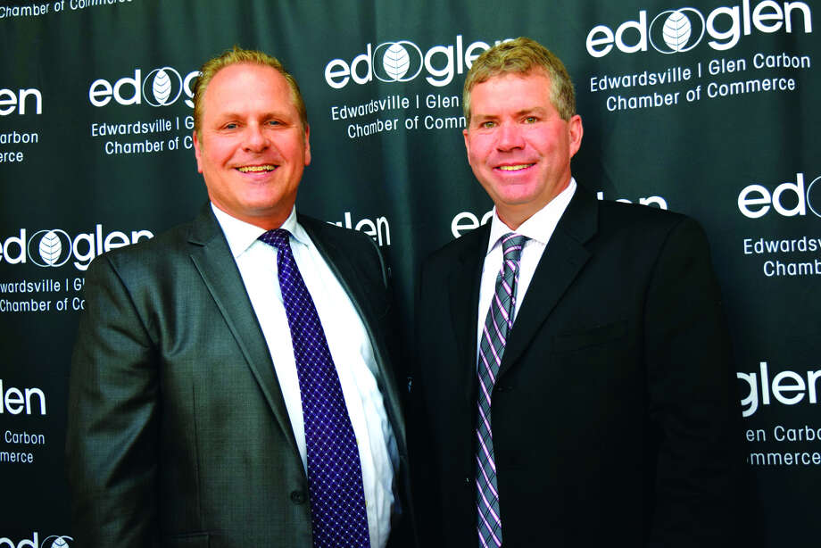 Glen Carbon Mayor Rob Jackstadt, left, and Edwardsville Mayor Hal Patton, right, both spoke Thursday morning at the annual Edwardsville/Glen Carbon Chamber of Commerce's Mayors' Breakfast.
