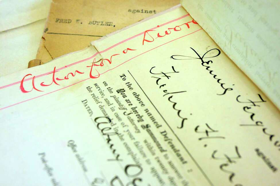 Records from the Jennie Ferguson and Frederic H Ferguson divorce case from 1901 at the Albany County Clerk's Office. (Paul Buckowski/Times Union)