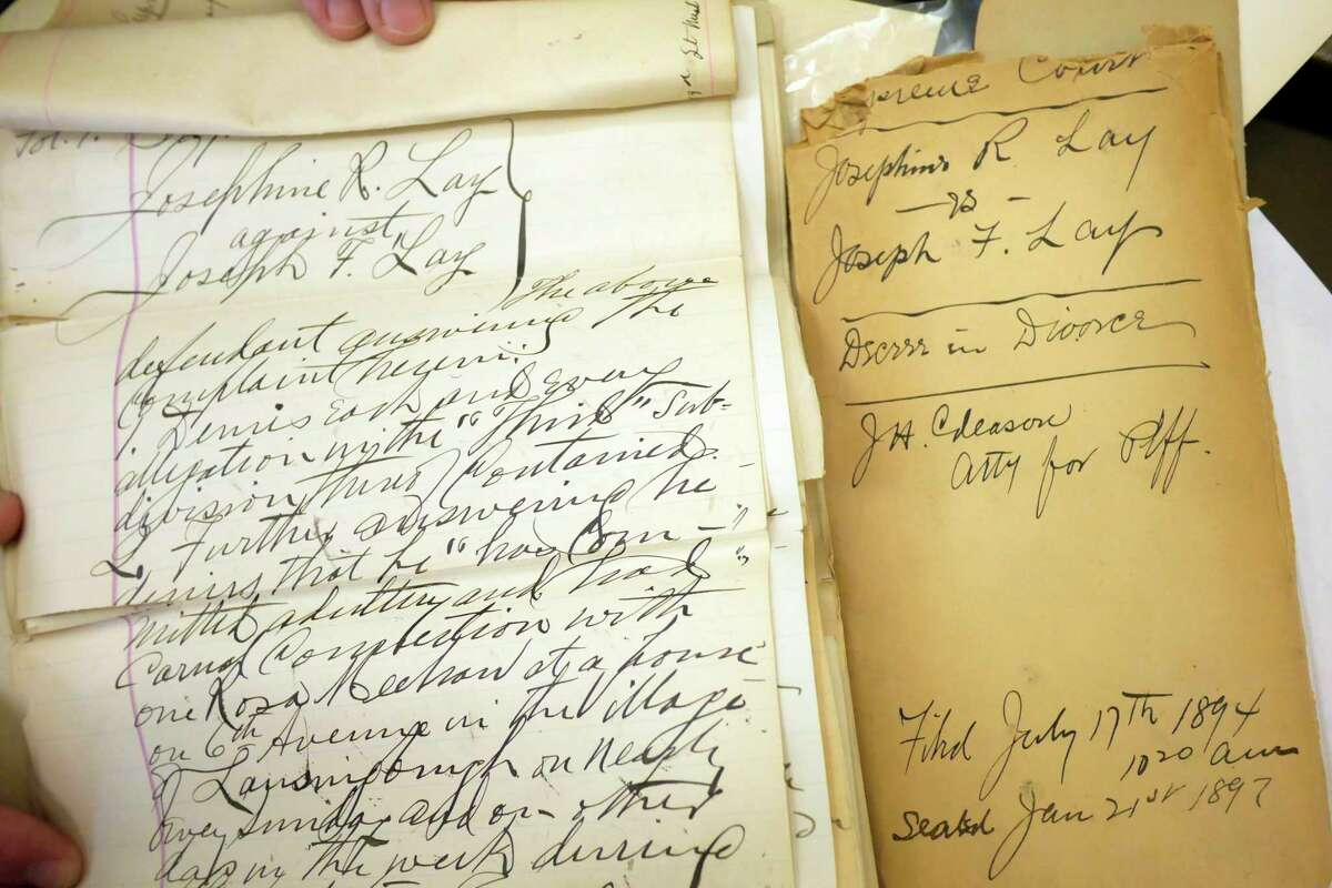 A view of court records from the divorce case of Josephine R Lay and Joseph F Lay from 1897, seen at the Albany County Clerk's Office. (Paul Buckowski/Times Union)