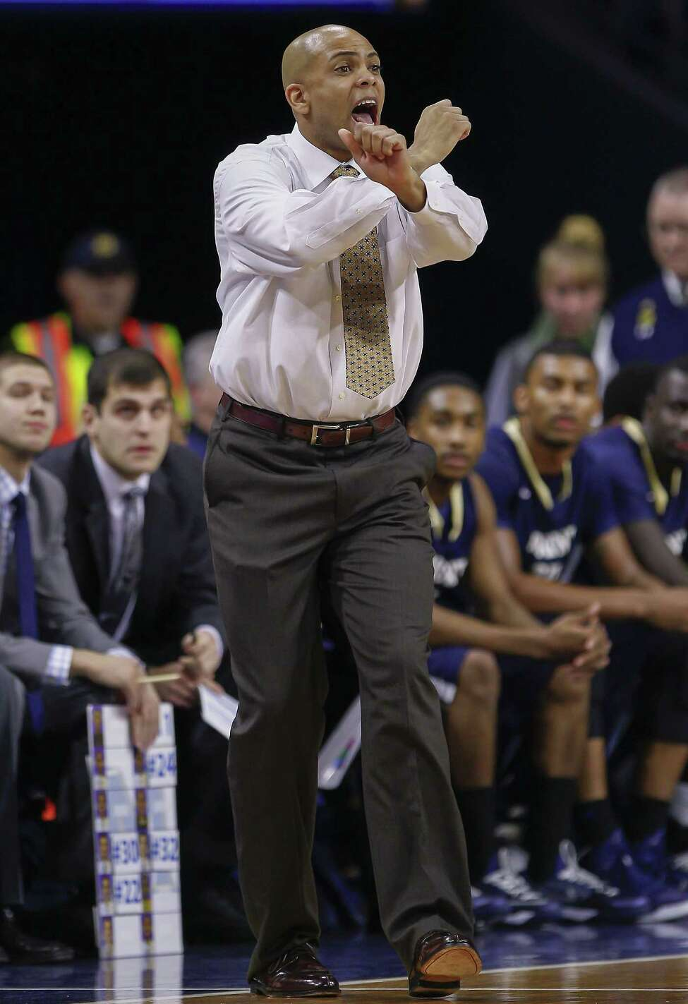 SOUTH BEND, IN - DECEMBER 09: Head coach Jamion Christian of the Mount St. Mary's Mountaineers is seen during the game against the Notre Dame Fighting Irish at Purcell Pavilion on December 9, 2014 in South Bend, Indiana. (Photo by Michael Hickey/Getty Images) ORG XMIT: 521949767