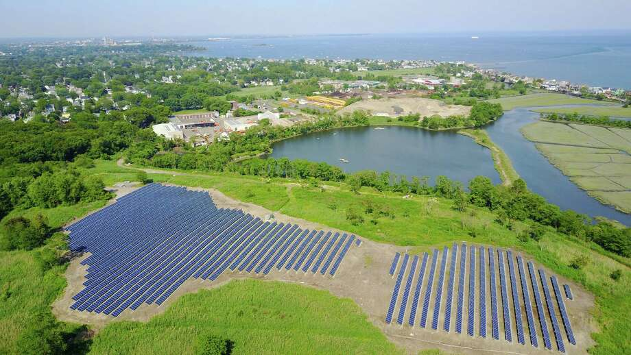 The array of solar panels at the town's landfill provide electricity for the Water Pollution Control facility as seen from above. Photo: Contributed Photo / Fairfield Citizen