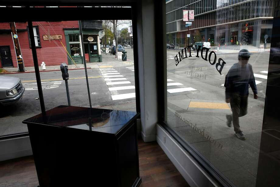 Merchandise has been removed from Body Time on Shattuck Avenue in Berkeley, one of two stores to close. Photo: Photos By Michael Macor / The Chronicle