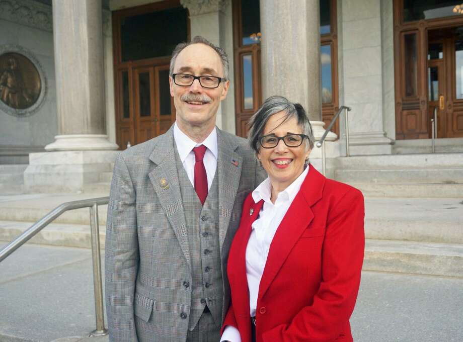 Republican Ruby O'Neill, vice chair of the Connecticut Commission on Equity and Opportunity, will run for the fifth district Congressional seat of Elizabeth Esty, she announced with her husband state Rep. Arthur O'Neill, R-Southbury, at the Capitol in Hartford, Conn. on Thursday April 26, 2018. Photo: Emilie Munson