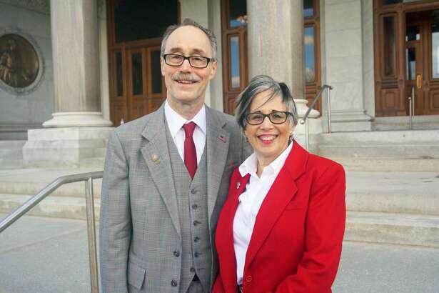 Republican Ruby O'Neill, vice chair of the Connecticut Commission on Equity and Opportunity, will run for the fifth district Congressional seat of Elizabeth Esty, she announced with her husband state Rep. Arthur O'Neill, R-Southbury, at the Capitol in Hartford, Conn. on Thursday April 26, 2018.