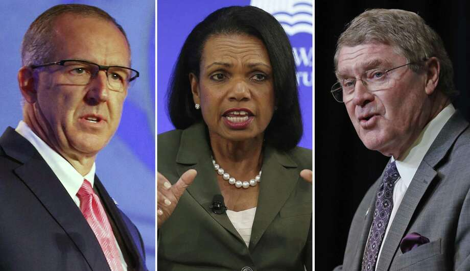 "FILE - At left, in a July 10, 2018, file photo, Southeastern Conference Commissioner Greg Sankey speaks during the NCAA college football Southeastern Conference's annual media gathering in Hoover, Ala. Center, in an Oct. 19, 2017, file photo, former U.S. Secretary of State Condoleezza Rice participates in a panel discussion at a forum sponsored by the George W. Bush Institute in New York. At right, in an April 5, 2018, file photo, Atlantic Coast Conference Commissioner John Swofford speaks during a news conference in Charlotte, N.C. Commissioners of the Southeastern and Atlantic Coast conferences say they're confident that the committee led by Condoleeza Rice will reach ""impactful"" conclusions as it studies corruption in college basketball. (AP Photo/File) Photo: Associated Press / AP"