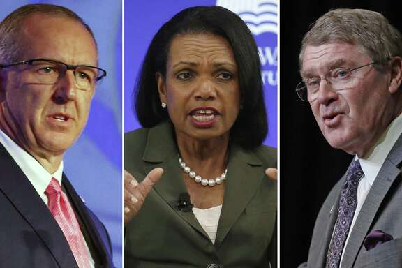 "FILE - At left, in a July 10, 2018, file photo, Southeastern Conference Commissioner Greg Sankey speaks during the NCAA college football Southeastern Conference's annual media gathering in Hoover, Ala. Center, in an Oct. 19, 2017, file photo, former U.S. Secretary of State Condoleezza Rice participates in a panel discussion at a forum sponsored by the George W. Bush Institute in New York. At right, in an April 5, 2018, file photo, Atlantic Coast Conference Commissioner John Swofford speaks during a news conference in Charlotte, N.C. Commissioners of the Southeastern and Atlantic Coast conferences say they're confident that the committee led by Condoleeza Rice will reach ""impactful"" conclusions as it studies corruption in college basketball. (AP Photo/File)"