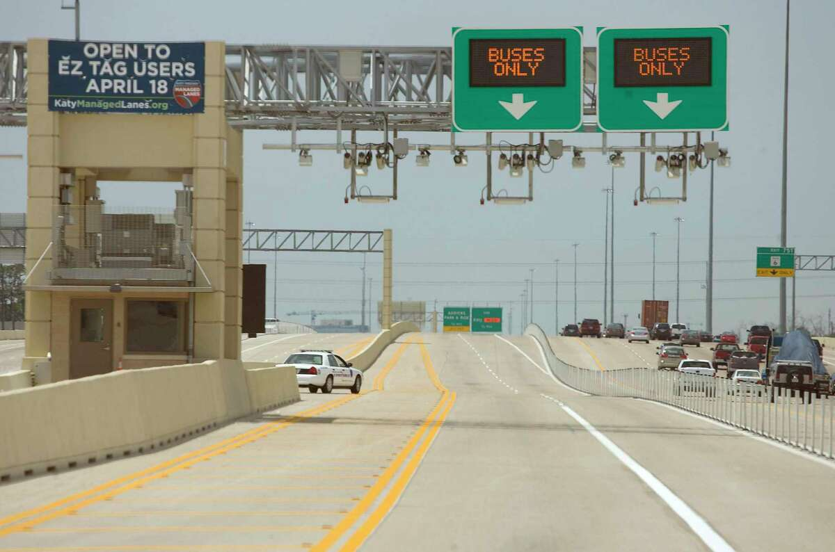 A west bound portion of the Harris County Toll Road Authority's managed lanes on the Katy Freeway, shown here April 15, 2009, in Houston. ( James Nielsen / Chronicle )