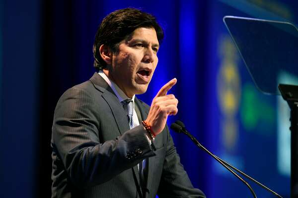 FILE - In this Feb. 24, 2018, file photo, U.S. Senate candidate, Senate President Pro Tem Kevin de Leon, D- Los Angeles, speaks at the 2018 California Democrats State Convention in San Diego. California billionaire Tom Steyer is endorsing de Leon, the Democrat challenging U.S. Sen. Dianne Feinstein.(AP Photo/Denis Poroy, File)