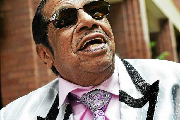 Fred Parris of Hamden, founder of New Haven's legendary New Doo-Wop group the Five Satins smiles after tribute to him and the Five Satins at a City Hallceremony Thursday, April 23, 2015 to commemorate the city's 377th birthday.
