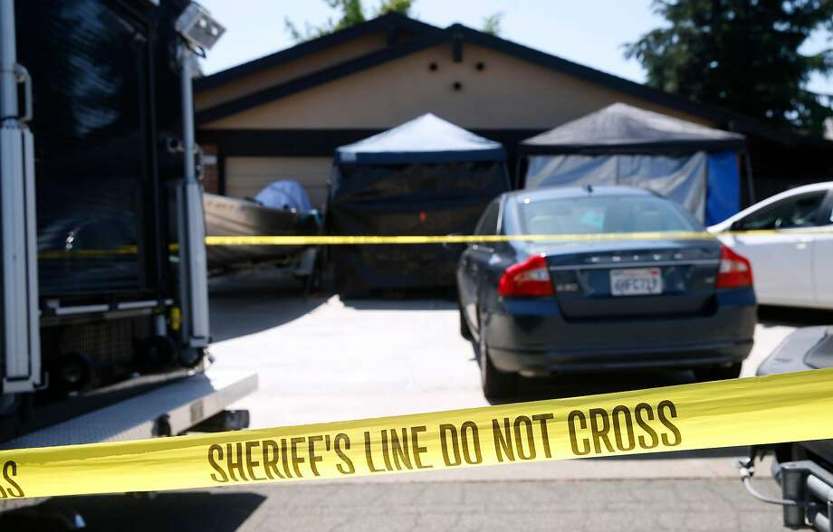 Crime scene tape remains in place in front of the home of James Joseph DeAngelo as investigators continue to collect evidence in Citrus Heights (Sacramento County). Photo: Paul Chinn / The Chronicle