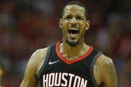 Houston Rockets forward Trevor Ariza (1) reacts during the second half of Game 2 of an NBA basketball first-round playoff series at Toyota Center on Wednesday, April 18, 2018, in Houston. ( Brett Coomer / Houston Chronicle )