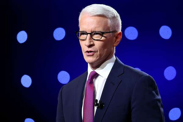 FLINT, MI - MARCH 06:  Debate moderator Anderson Cooper looks during the CNN Democratic Presidential Primary Debate between Democratic presidential candidate Hillary Clinton and candidate Senator Bernie Sanders (D-VT) at the Whiting Auditorium at the Cultural Center Campus on March 6, 2016 in Flint, Michigan. Voters in Michigan will go to the polls March 8 for the state's primary.  (Photo by Scott Olson/Getty Images)