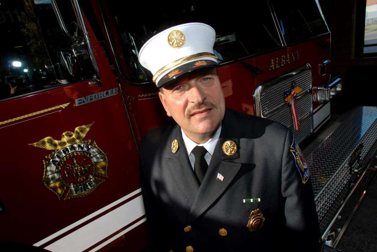 Newly named Fire Chief Robert Forezzi Sr. poses at the Midtown Station, the home of Engine 1, on Friday, Sept. 29, 2006, in Albany, N.Y. Forezzi worked at this station more than 22 years as a firefighter and officer. (Times Union archive)