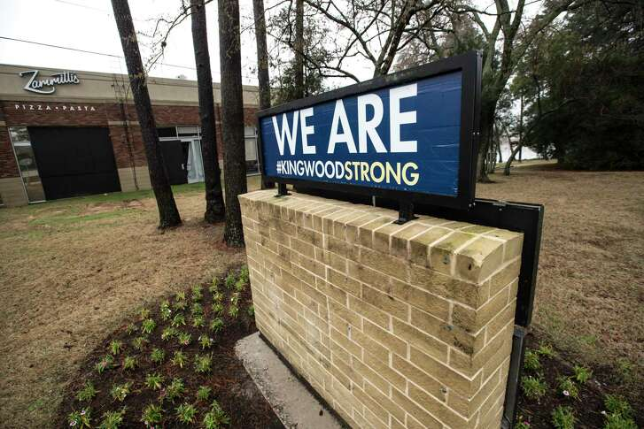 A Kingwood Strong sign is shown outside the Kings Harbor mixed-use development on Thursday, Feb. 22, 2018, in Kingwood. ( Brett Coomer / Houston Chronicle )