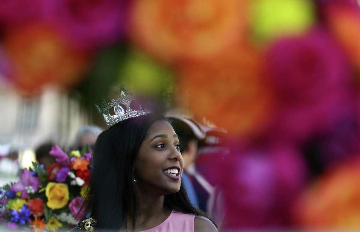 San Antonio Queen of Soul 2017 Malia Martinez, 19, lines up to particiapte in the San Antonio Fiesta Pilgrimage to the Alamo, Monday, April 23, 2018. The Queen of Soul organization is celebrating its 50th anniversary this year.