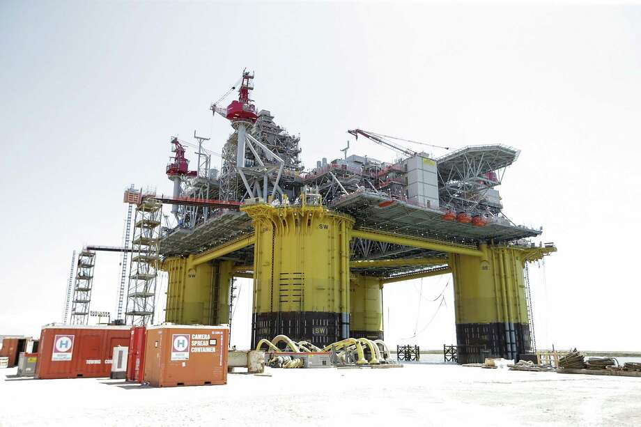 A view of Shell's new Gulf deepwater platform, Appomattox, before it's set out to sea on Monday, April 23, 2018, in Ingleside. ( Elizabeth Conley / Houston Chronicle ) Photo: Elizabeth Conley, Chronicle / Houston Chronicle / © 2018 Houston Chronicle