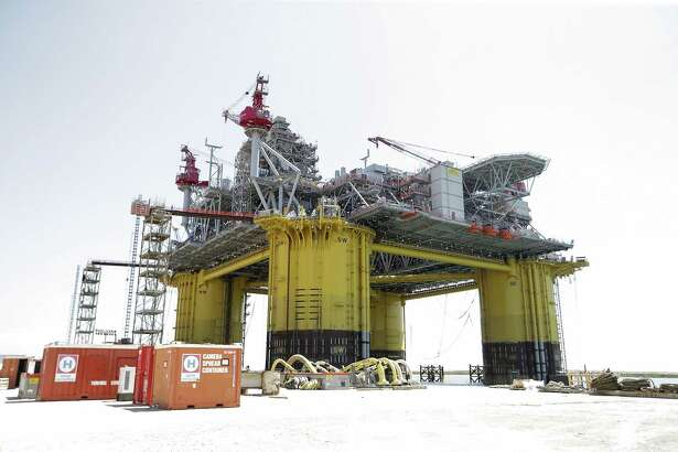 A view of Shell's new Gulf deepwater platform, Appomattox, before it's set out to sea on Monday, April 23, 2018, in Ingleside. ( Elizabeth Conley / Houston Chronicle )