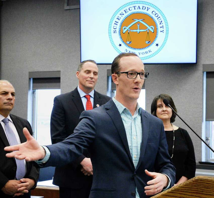 GE's solar product line general manager Erik Schiemann speaks during the announcement of a partnership between the county and GE to build a network of solar farms Thursday April 26, 2018 in Schenectady, NY. (John Carl D'Annibale/Times Union)