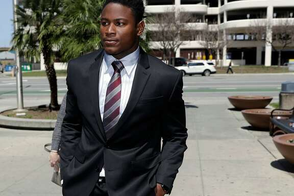 FILE - In this April 12, 2018, file photo, San Francisco 49ers linebacker Reuben Foster arrives at Santa Clara County Superior Court in San Jose, Calif.  The attorney for the ex-girlfriend of Reuben Foster says her client initially lied to authorities when she accused the linebacker of hitting her leading to domestic violence charges. Attorney Stephanie Rickard issued a statement on behalf of Elissa Ennis on Wednesday that says her client can prove the injuries that led to the charges were not caused by Foster. (AP Photo/Marcio Jose Sanchez, File)